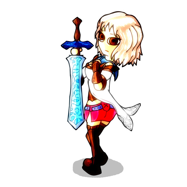 Cartoon illustration of Ashe from Final Fantasy 12, holding a large sword.