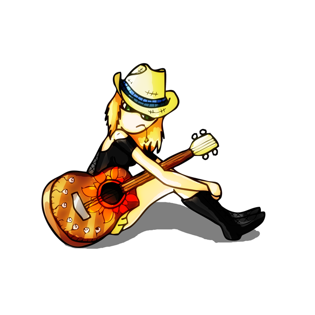 blonde hair, guitar, illustration, woman, cowboy hat, black boots